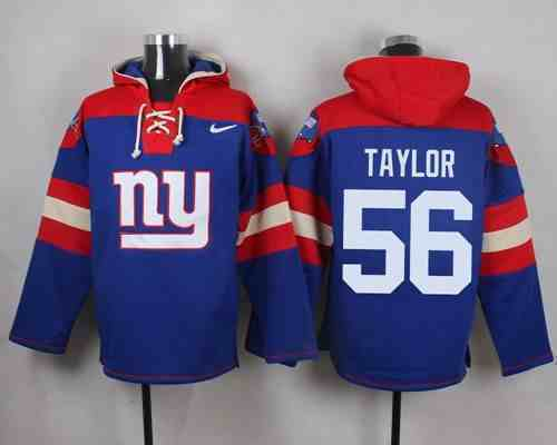 Nike Giants 56 Lawrence Taylor Blue Hooded Jersey
