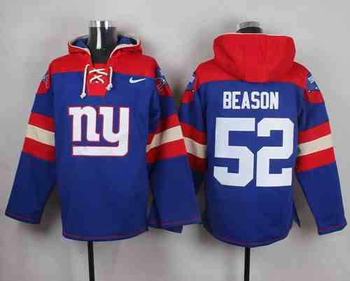 Nike Giants 52 Jon Beason Blue Hooded Jersey