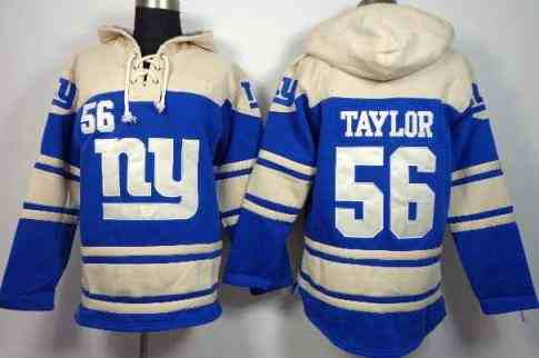 Nike New York Giants #56 Lawrence Taylor Blue Sawyer Hooded Sweatshirt NFL Hoodie