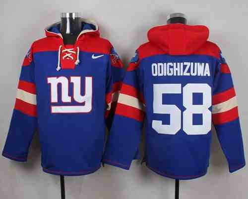 Nike Giants 58 Owa Odighizuwa Blue Hooded Jersey