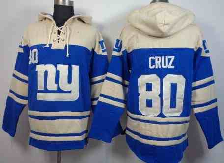 New York Giants 80 Victor Cruz Blue NFL Hoodie