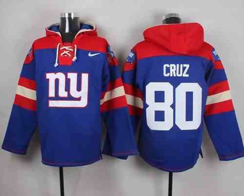Nike Giants 80 Victor Cruz Blue Hooded Jersey