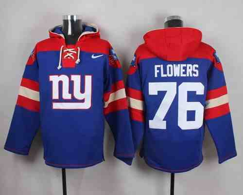 Nike Giants 76 Ereck Flowers Blue Hooded Jersey