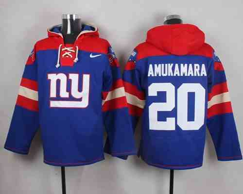 Nike Giants 20 Prince Amukamara Blue Hooded Jersey