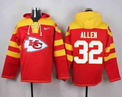 Nike Chiefs 32 Marcus Allen Red Hooded Jersey