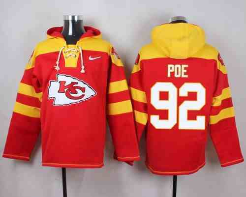 Nike Chiefs 92 Dontari Poe Red Hooded Jersey