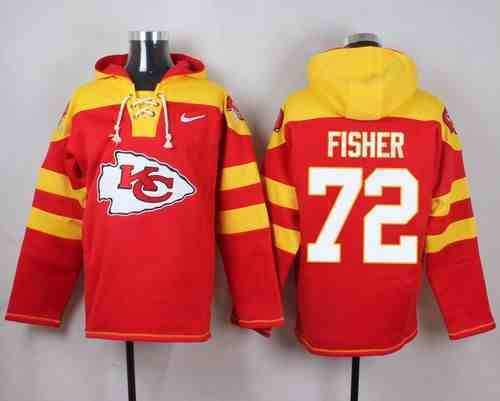 Nike Chiefs 72 Eric Fisher Red Hooded Jersey