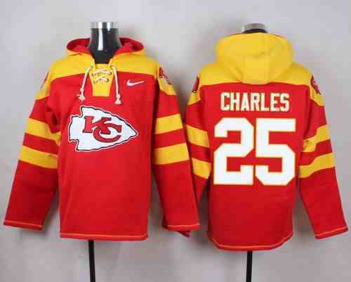 Nike Chiefs 25 Jamaal Charles Red Hooded Jersey