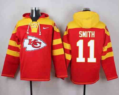 Nike Chiefs 11 Alex Smith Red Hooded Jersey
