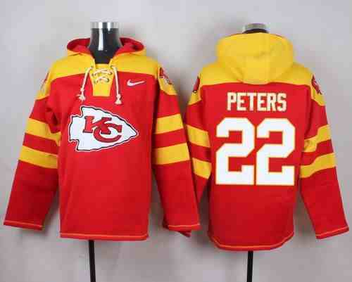 Nike Chiefs 22 Marcus Peters Red Hooded Jersey