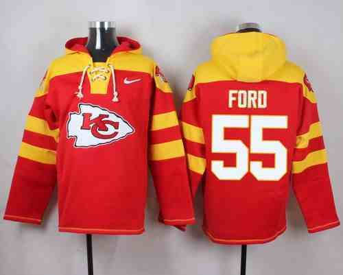 Nike Chiefs 55 Dee Ford Red Hooded Jersey