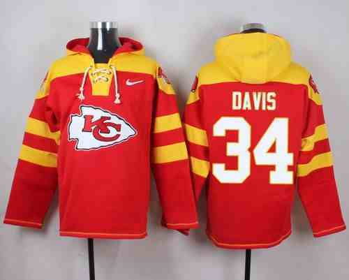 Nike Chiefs 34 Knile Davis Red Hooded Jersey