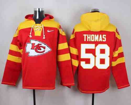 Nike Chiefs 58 Derrick Thomas Red Hooded Jersey
