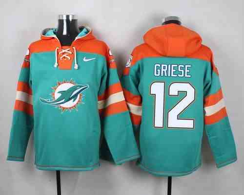 Nike Dolphins 12 Bob Griese Green Hooded Jersey