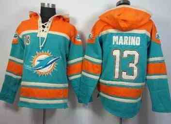 Miami Dolphins #13 Dan Marino Aqua Green Sawyer Hooded Sweatshirt NFL Hoodie