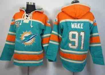 Miami Dolphins #91 Cameron Wake Aqua Green Sawyer Hooded Sweatshirt NFL Hoodie
