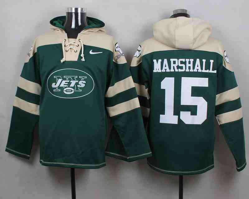 Nike Jets 15 Brandon Marshall Green Hooded Jersey