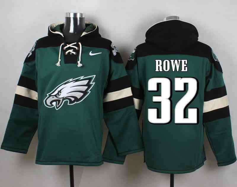 Nike Eagles 32 Eric Rowe Green Hooded Jersey