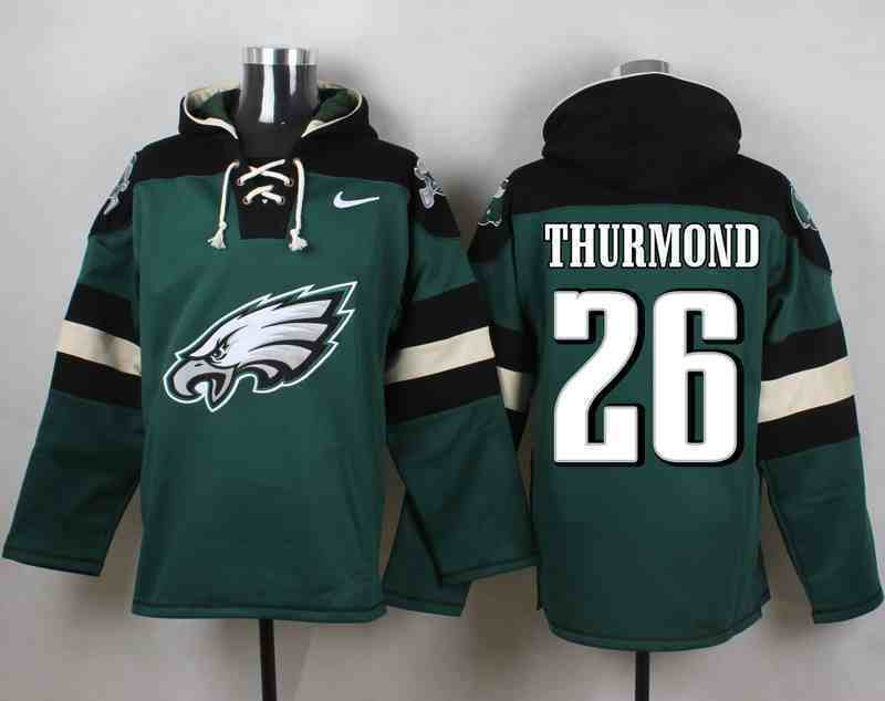 Nike Eagles 26 THURMOND Green Hooded Jersey