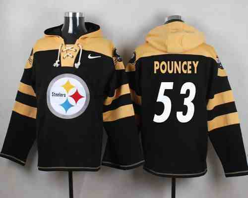 Nike Steelers 53 Maurkice Pouncey Black Hooded Jersey