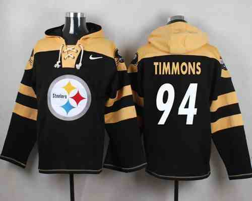 Nike Steelers 94 Lawrence Timmons Black Hooded Jersey