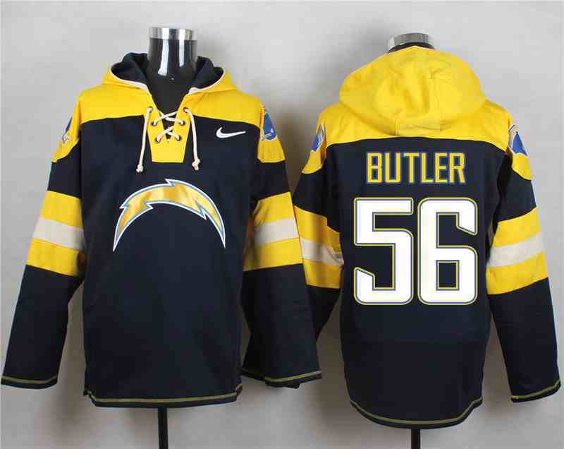 Nike Chargers 56 BUTLER Navy Hooded Jersey