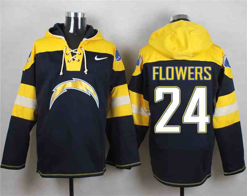 Nike Chargers 24 Brandon Flowers Navy Hooded Jersey