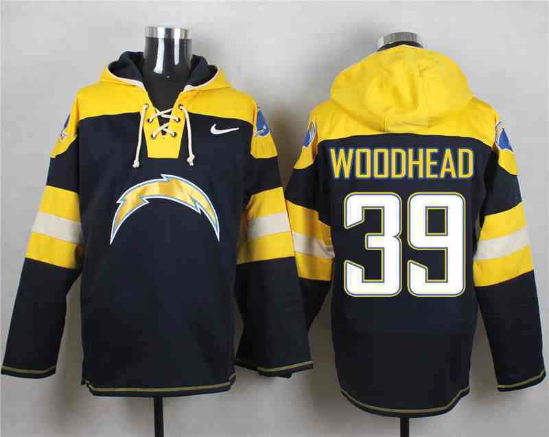 Nike Chargers 39 Danny Woodhead Navy Hooded Jersey
