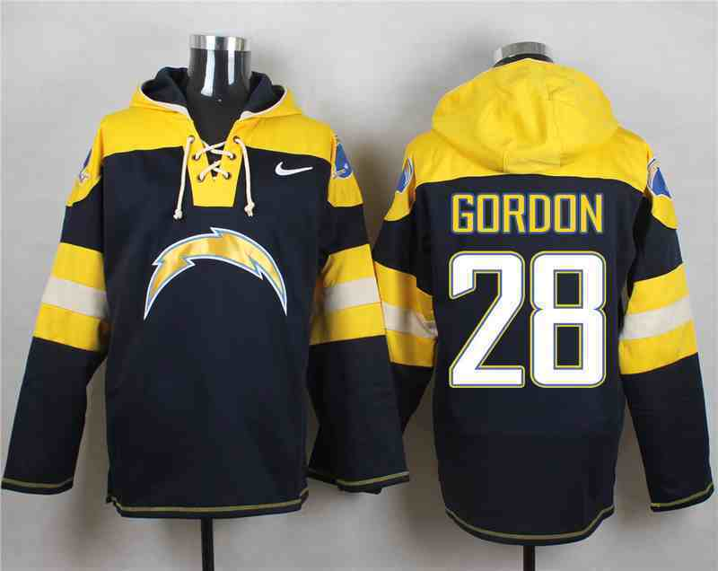 Nike Chargers 28 Melvin Gordon Navy Hooded Jersey
