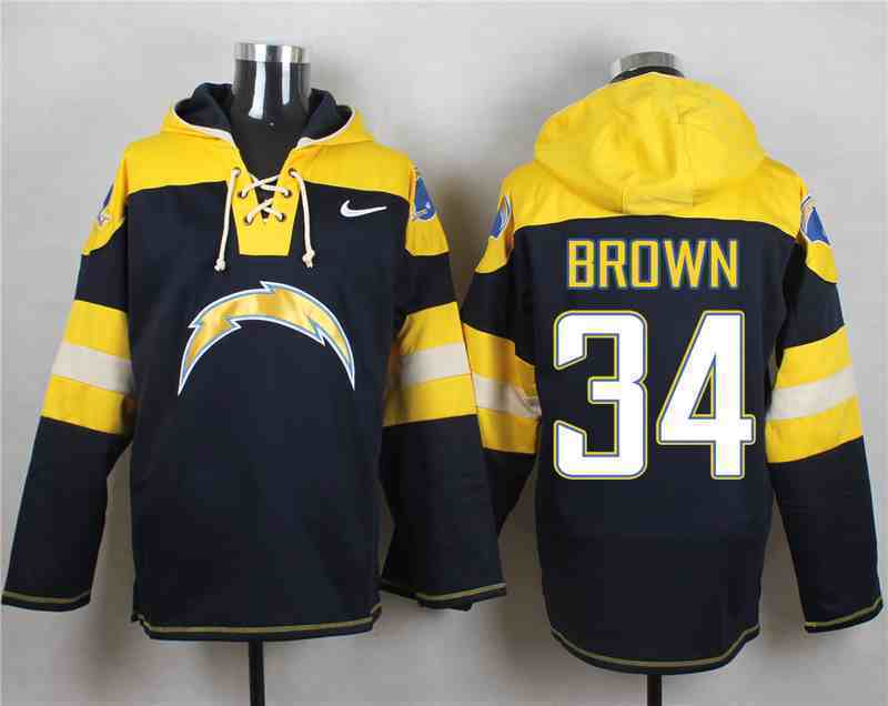 Nike Chargers 34 BROWN Navy Hooded Jersey
