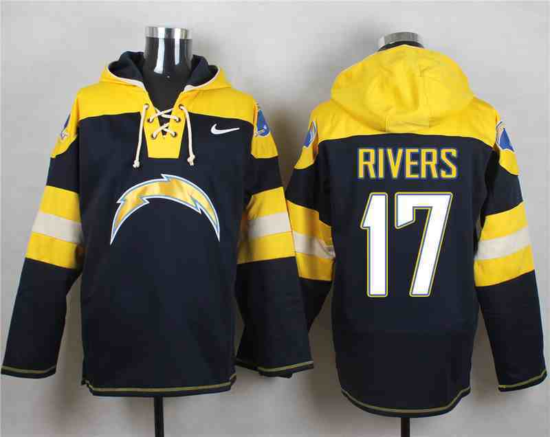 Nike Chargers 17 RIVERS Navy Hooded Jersey