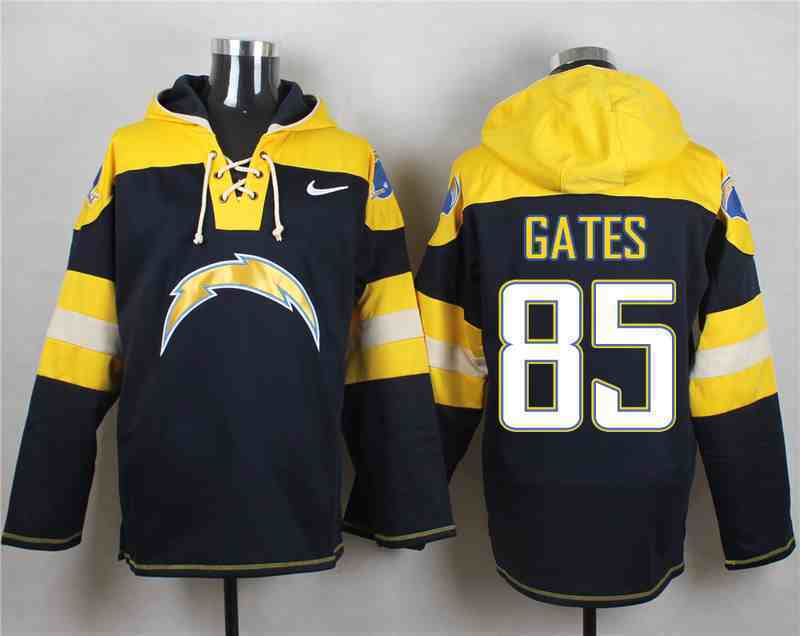 Nike Chargers 85 GATES Navy Hooded Jersey