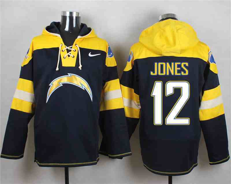 Nike Chargers 12 JONES Navy Hooded Jersey