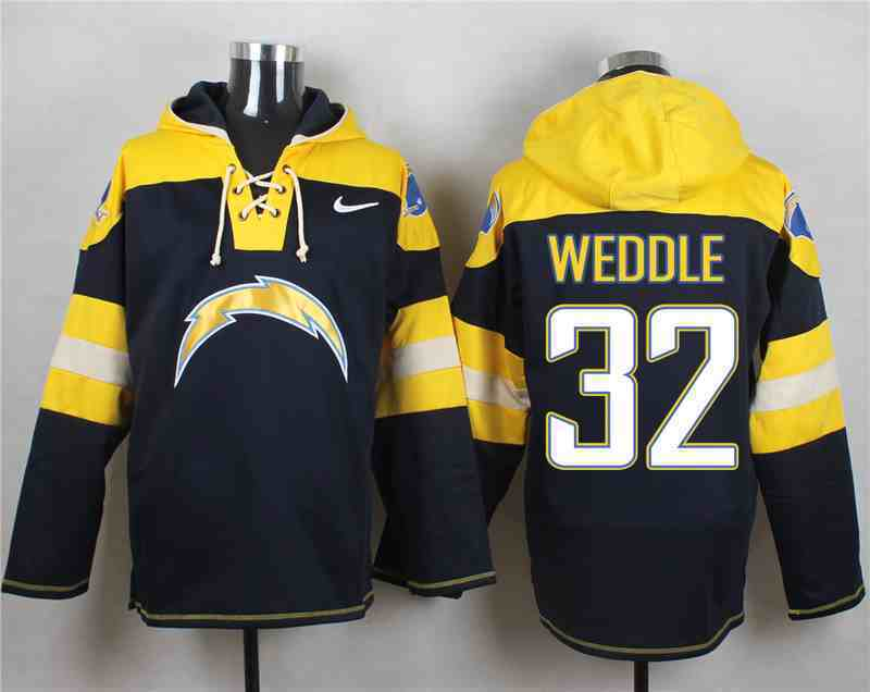 Nike Chargers 32 Eric Weddle Navy Hooded Jersey