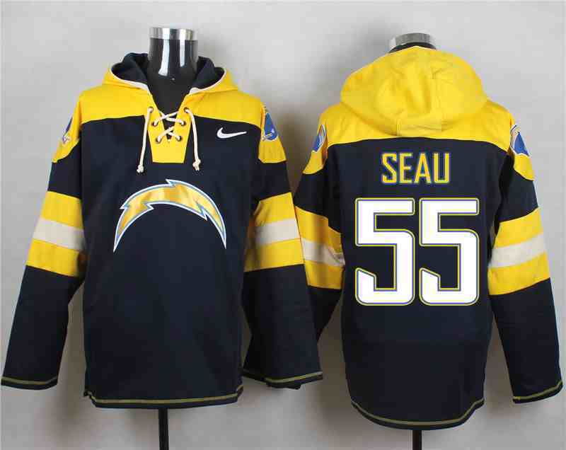 Nike Chargers 55 Junior Seau Navy Hooded Jersey