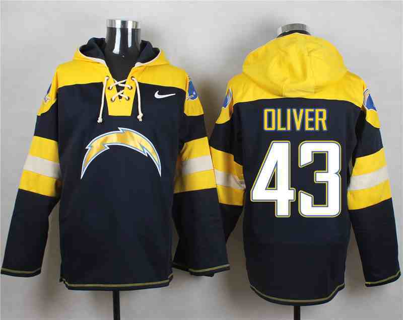 Nike Chargers 43 Branden Oliver Navy Hooded Jersey