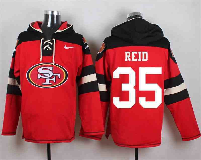 Nike 49ers 35 Eric Reid Red Hooded Jersey