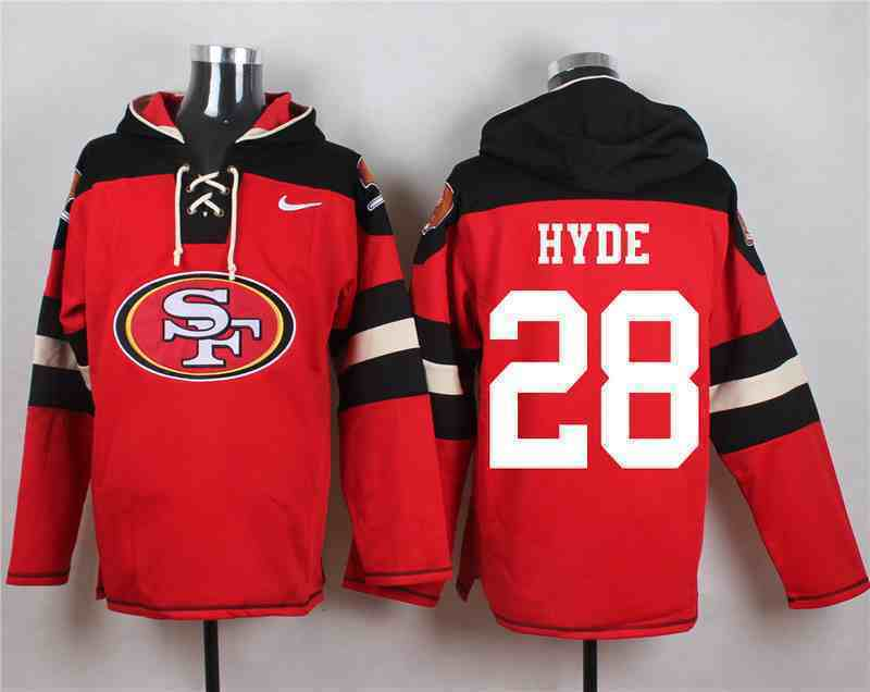 Nike 49ers 28 Carlos Hyde Red Hooded Jersey