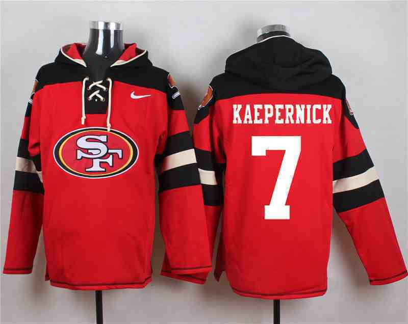 Nike 49ers 7 Colin Kaepernick Red Hooded Jersey