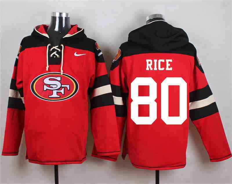Nike 49ers 80 Jerry Rice Red Hooded Jersey