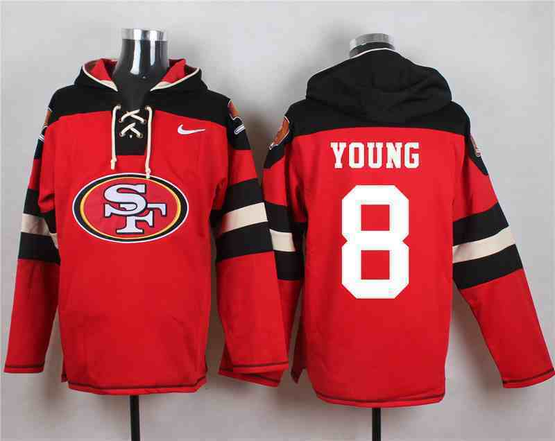 Nike 49ers 8 Steve Young Red Hooded Jersey