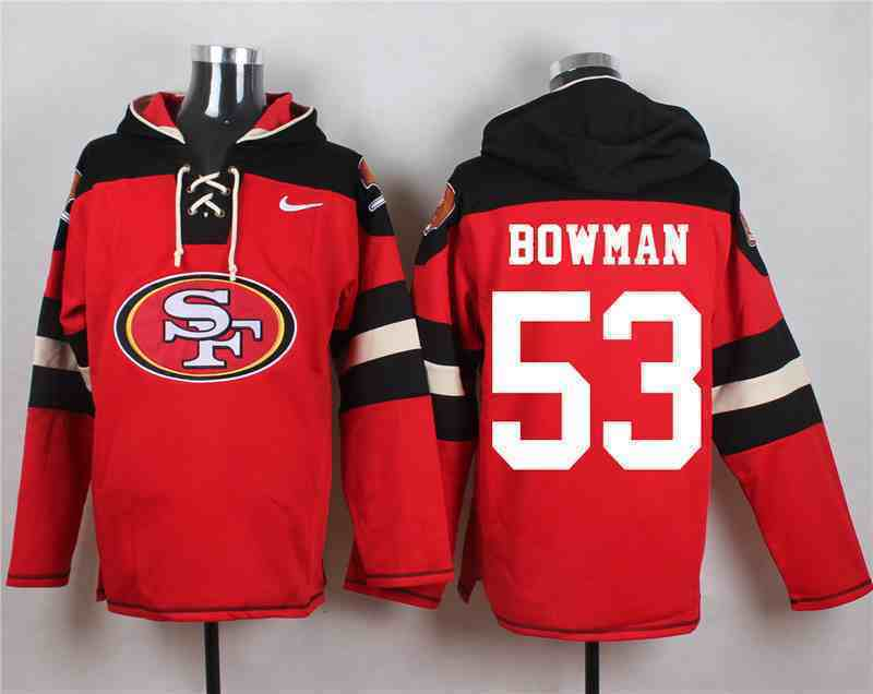 Nike 49ers 53 NaVorro Bowman Red Hooded Jersey