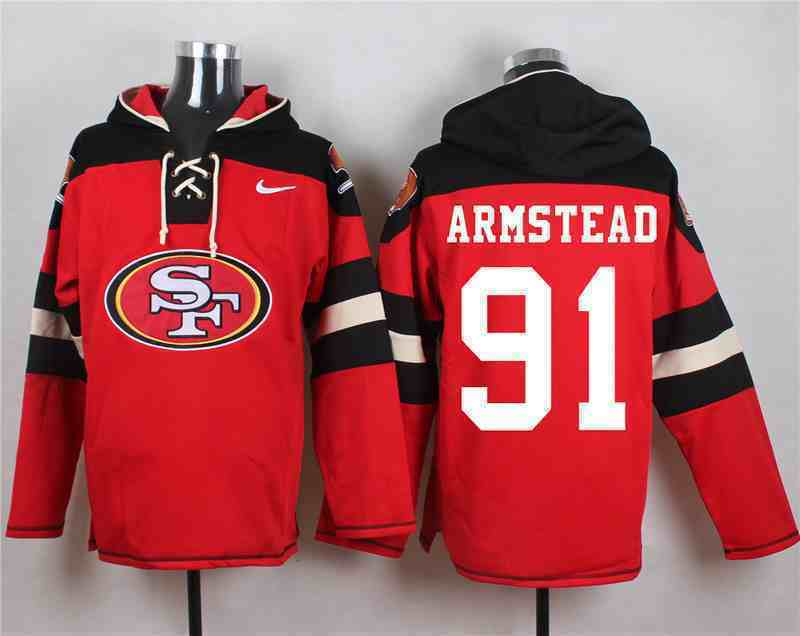 Nike 49ers 91 Arik Armstead Red Hooded Jersey