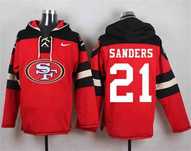 Nike 49ers 21 SANDERS Red Hooded Jersey