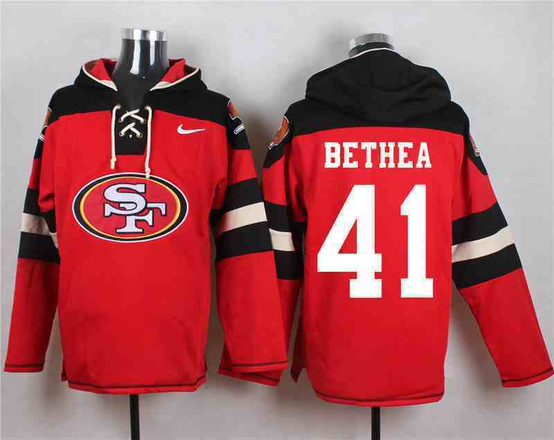 Nike 49ers 41 Antoine Bethea Red Hooded Jersey