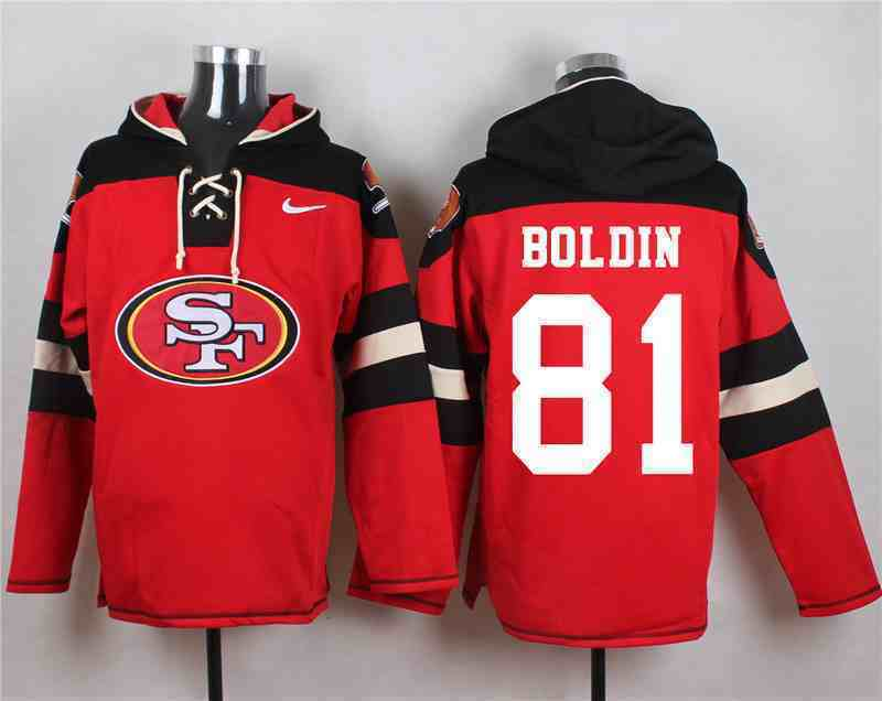Nike 49ers 81 Anquan Boldin Red Hooded Jersey