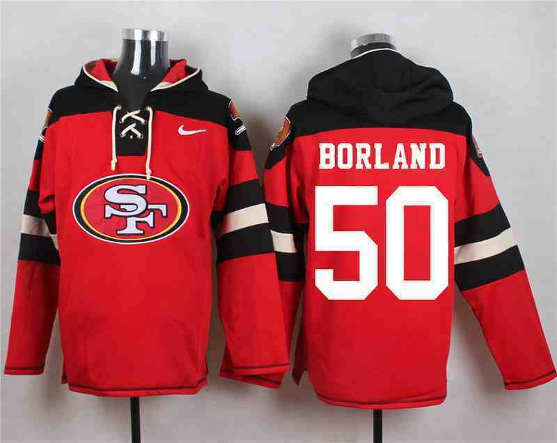 Nike 49ers 50 BORLAND Red Hooded Jersey