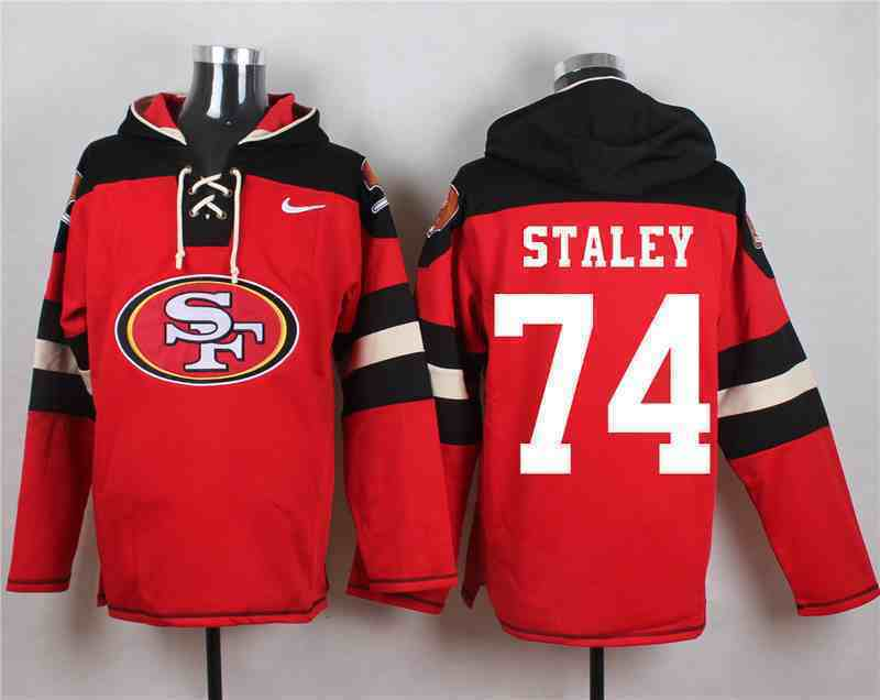 Nike 49ers 74 Joe Stanley Red Hooded Jersey