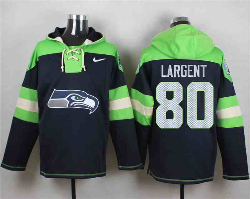 Nike Seahawks 80 LARGENT Navy Hooded Jersey