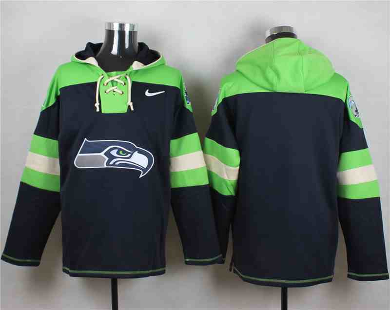 Nike Seahawks Blank Navy Hooded Jersey
